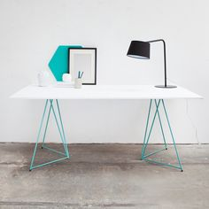 beautiful desk - love it - Trestles & Shelves in Expressive Forms #masterandmaster
