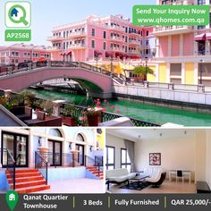 Townhouses in Pearl Qatar: Fully Furnished 3 Bedrooms Townhouse with Canal View in Qanat Quartier at QAR 25,000/-