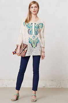 Sattva Tunic #anthropologie $198. I kinda wish this was done in all white or off white embroidery.