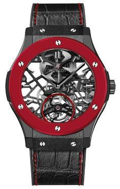 Hublot Debuts Red Ceramic In Classic Fusion Skeleton Tourbillon