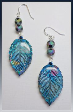 handmade Leaf  Dangle Sapphire Earrings polymer clay Jewelry by BeadazzleMe via Etsy