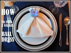 Learn how to do folding napkin dress. If you are planning a special meal for Valentine's day, wedding or for a romantic dinner you can fold your napkins into. Wedding Napkins, Wedding Table, Decorative Napkins, Towel Animals, Napkin Folding, Romantic Dinners, Deco Table, Ball Dresses, Fine Dining