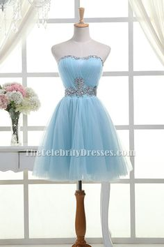 Light Sky Blue Strapless Sweetheart Tulle Beaded Homecoming Party Short  Bridesmaid Dresses Homecoming Dresses 2017 d1b5ee1fee32
