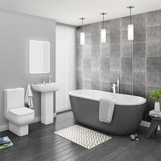 Grey Freestanding Bath Suite The seriously stylish modern Pro 600 bathroom suite, features contemporary elegant styling with a on-trend modern grey free standing bath tub.