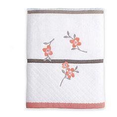 Saturday Knight Coral Garden Bath Towel in Ivory