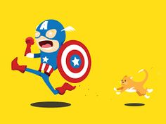 Captain America is scared of cats designed by Chris Fernandez. Cat Design, Love Design, Design Art, Cute Characters, Disney Characters, Fictional Characters, Illustrations And Posters, Character Illustration, Captain America