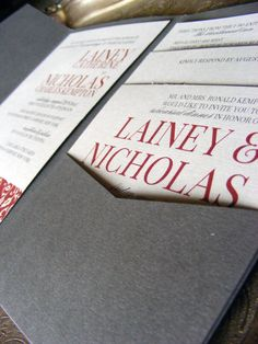Gray and red wedding invitation