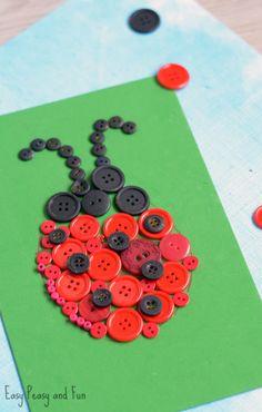 Ladybug Button Art Craft - Easy Peasy and Fun Easy Preschool Crafts, Cute Kids Crafts, Animal Crafts For Kids, Kindergarten Crafts, Diy For Kids, Easy Crafts, Arts And Crafts, Craft Kids, Kids Craft Supplies