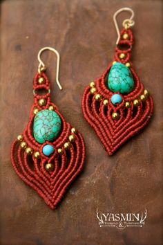 red heart micro macrame tribal boho earrings