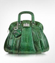 Ghibli jade green python tote bag.