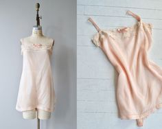 Vintage 1920s pale pink silk step-in/romper with wide set ribbon shoulder straps, lace and ribbon trimmed bodice, loose unfitted shape and button panel between the legs.  ✂-----Measurements  fits like: medium/large bust: 36-38 waist: up to 36 hip: up to 44 length: 35 brand/maker: n/a condition: excellent  to ensure a good fit, please read the sizing...