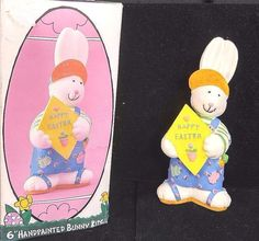 "6"" Handpainted Bunny Kid Figurine Bunny Egg Hunter Holiday Workshop Happy Easter"
