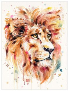 lion majestic proud pride red sunset sunrise autumn fierce eyes animal wildlife africa painting watercolour watercolor sillierthansally boho whimsical strong dynamic loud Watercolor Paintings Of Animals, Watercolor Lion, Lion Painting, Watercolor Illustration, Watercolour Painting, Simple Watercolor, Tattoo Watercolor, Watercolor Trees, Watercolor Background
