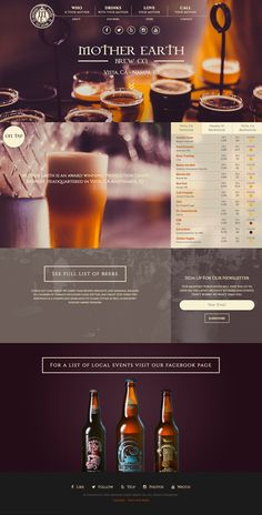 Mother Earth Brew Co. is an award winning micro brewery located in Vista, CA. I recently handled a re-vamp of their website. Best Restaurant Websites, Restaurant Website Design, Website Design Company, Blog Layout, Website Layout, Web Layout, Nice Website, Website Ideas, Layout Design
