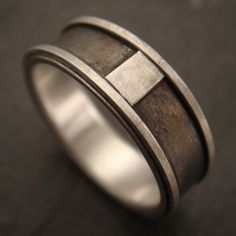 men's wedding band in sterling silver and inlaid titanium -down to the wire designs
