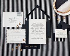 modern black and white striped #wedding invitation.