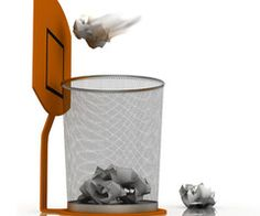 Eclectic waste baskets wire and baskets on pinterest - Basketball waste paper basket ...