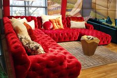 Modern Chesterfield Sofa by BRETZ. Red velvet upholstery. Made in Germany. Designer furniture in Sydney, Australia - Flagship BRETZ store