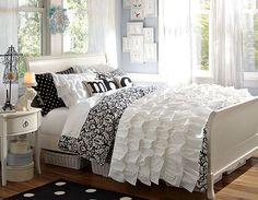 I love the PBteen Rufflicious Damask Chic Bedroom on pbteen.com. Love the ruffles...on sale! So unbelievably in love with this room