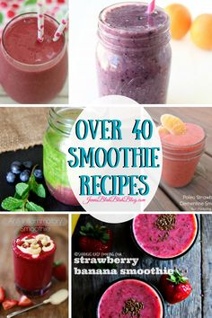 Over 40 Fabulous Smoothie Recipes 2 Strawberry Banana Smoothie, Raspberry Smoothie, Fruit Smoothies, Healthy Smoothies, Breakfast Smoothies, Healthy Breakfasts, Healthy Drinks, Healthy Foods, Healthy Recipes