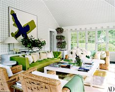 Reed and Delphine Krakow are living the dream… A TIME CAPSULE INTERIOR! Delphine is a very talented interior designer, we've covered her homes and design firm Pamplemousse Designs befor… Architectural Digest, Best Interior Design, Interior Design Inspiration, Die Hamptons, Indoor Outdoor, Outdoor Living, Outdoor Spaces, Reed Krakoff, Beach Cottages