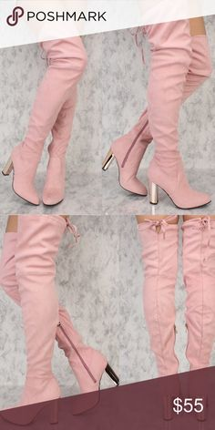 Pink suede over the knee boots Over the knee / Faux suede / 4 inch Gold metallic heel / ties at the top / inner zipper closure / light pink color! / fits me great, I'm a perfect size 6 / NWT NEVER WORN Shoes Over the Knee Boots