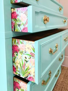 upcycled furniture Im going to show you a quick and easy way to apply paper to a dresser for a fun punch of pattern and color. this step by step tutorial to make your furniture pop. BONUS video tutorial as well! Refurbished Furniture, Repurposed Furniture, Furniture Refinishing, Wooden Furniture, Diy Furniture Upcycle, Painted Nursery Furniture, Vintage Furniture, Painted Garden Furniture, Floral Furniture