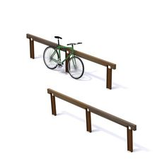 STREETLIFE R&R Inline Parking. Supporting stand for multiple bikes with slot for chain lock. #StreetFurniture #BikeRack #ParkDesign  #CorTen