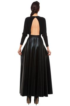 Norma Kamali Fall 2013, cut-out back and leather maxi skirt