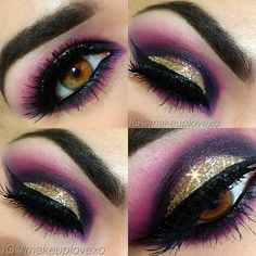 Cut crease gold eye with purple and magenta smoked out, so gorgeous. Dramatic look
