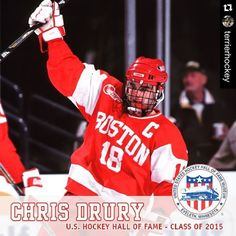 Congrats to #BU NHL and Team USA great Chris Drury on being named to the U.S. Hockey Hall of Fame's Class of 2015! He'll be the 10th Terrier inducted. #ProudtoBU by buathletics