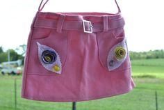 Girls Denim Pink Skirt Purse /Flowers Made From Pencil Shaving | GinasCornerCrafts - Bags & Purses on ArtFire