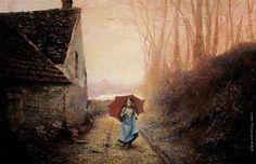 Бочаров Сергей Петрович [1953] Осень в пригороде Парижа. Красный зонтик. 1970