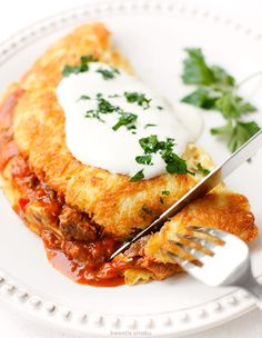 Polish style hash browns served with meat stew