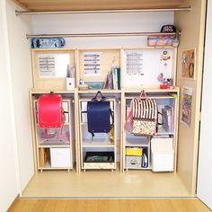 学校用品の収納場所/ランドセル/ランドセル置き場/簡単手作り/三人兄弟 姉弟妹…などのインテリア実例 - 2017-09-07 00:21:37 | RoomClip(ルームクリップ) Kids Bedroom, Bedroom Decor, Japanese Home Design, Loft Bunk Beds, Baby Hammock, Box Shelves, Bed Design, Interior Design Inspiration, Ideal Home