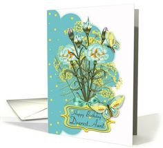 aunt, summer color birthday card with carnations and butterflies card