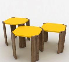 Sada 3 stohovatelných odkládacích stolků s krémovým detailem Rafevi Hansel