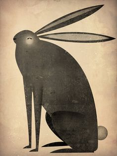 Black rabbit illustration.