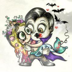 "Kimmy on Instagram: """"Love at First Bite"" by @spooksieboo ❤️ #vampirelove #vampire #littlemermaid #mermaidlife #mermaid #princess #valentinesday2016 #bemine #bemyvalentine #valentinesday #love #instaart #illustrator #animation #characterdesign #arts_gallery"" Cute Zombie, Zombie Art, Zombie Cartoon, Vampire Bites, Vampire Love, Be My Valentine, The Little Mermaid, Insta Art, First Love"