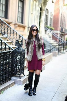Fur vest burgundy sweater dress and over the knee boots