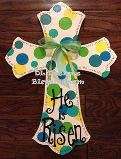 Easter Cross He is risen by DLDesignsBirmingham on Etsy, $35.00