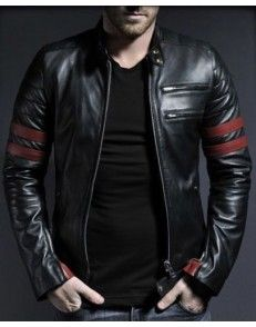 Red Stripes Mens Leather Jacket available on www.styloleather.com at very affordable price Genuine Leather  #Mensfashion #menstyle #Leatherjackets