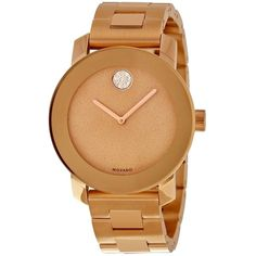 Pre-owned Movado Bold Bronze Dial Rose Gold Ion-plated Stainless Steel... ($587) ❤ liked on Polyvore