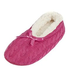 4df8613fa54 Leisureland Womens Knit Fleece Lined Solid Color Slippers Rose Pink Medium  -- Special product just