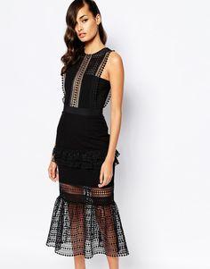 Image 1 ofSelf Portrait Frilled Column Dress