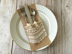 10x burlap and lace rustic silverware holders wedding, bridal shower, baby shower I made these beautiful silverware…
