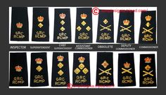 RCMP Officers' shoulder boards.  The shoulder board that is third from the RIGHT for the old Deputy Commissioner has no crown - this was the case years ago. You can see this on the 1982 poster published by the RCMP entitled, RCMP badges and insignia. Now, the Deputy Commissioner uses the one with the crown and the sword/baton-- second from the RIGHT, which was the prior insignia for the Commissioner.