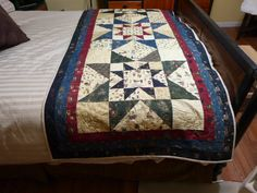 "84"" X 36' Quilted Bed Runner,  The Stars are Out Tonight, Handmade."