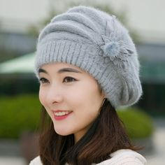 Sevem-D Women Knitted Bonnet Caps Winter Hats Wool Fur Beanie Flower Skullies Hat Color red Size One Size Knitted Beret, Crochet Beanie Hat, Beanie Hats, Crochet Hats, Knit Crochet, Bonnet Ski, Bonnet Crochet, Crochet Winter Hats, Themed Outfits