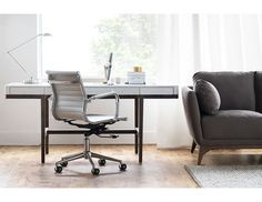 Structube - Office : Desks : Adel (White/Black oak) Bureau Simple, Grey Office, Spencer, Wood Desk, Home Office, Office Desks, Desk Lamp, Sweet Home, Chair